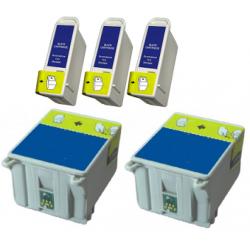 5 CARTUCCE COMPATIBILI EPSON T007 / T008 3 NERE + 2 COLORI NO OEM