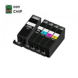5 CARTUCCE COMPATIBILI CANON 1 NERO PGI-5 + 1 PER X COLORE CLI-8 CON CHIP