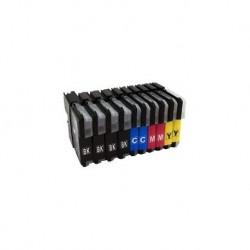 10 CARTUCCE COMPATIBILI BROTHER LC-1000 4 NERE + 2 PER COLORE MULTIPACK